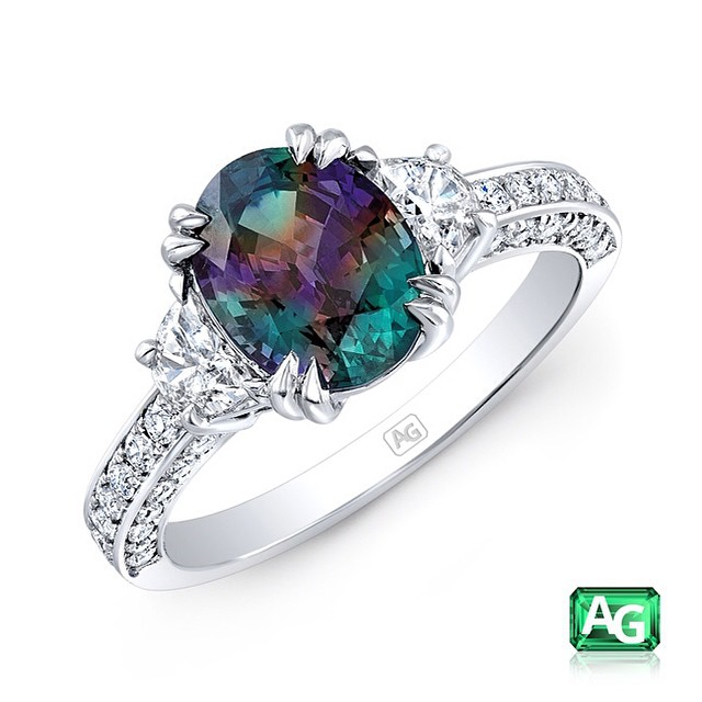 A close-up of an Alexandrite Ring from AG Gems